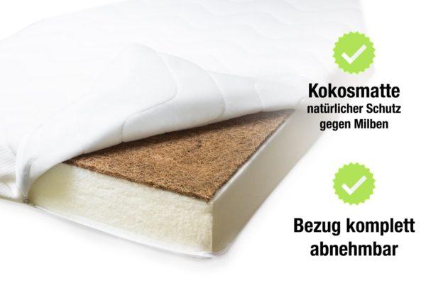 Kokosmatte - Natürlicher Schutz gegen Milben. Bezug komplett abnehmbar.
