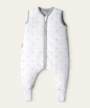 Ehrenkind® Babyschlafsack mit Beinen aus Bio-Baumwolle – Weiß graue Sterne