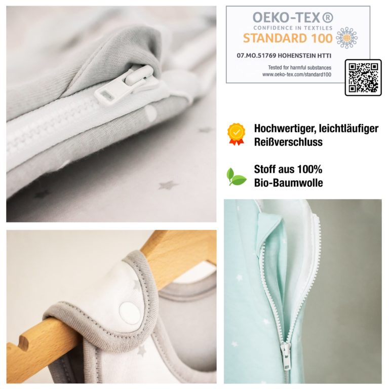 Hochwertiger, leichtläufiger Reißverschluss, Stoff aus 100% Bio-Baumwolle