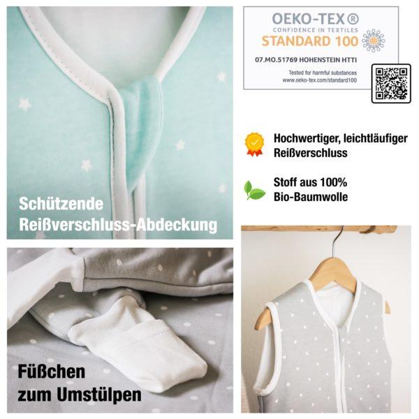 Schützende Reißverschluss-Abdeckung, Füßchen zum Umstülpen, Stoff aus 100% Bio-Baumwolle